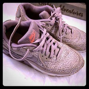 Purple cheetah Nike Air Max shoes